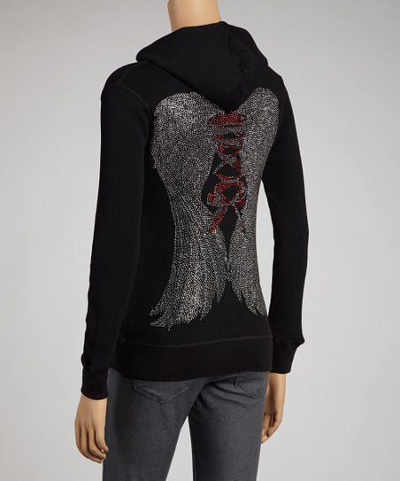 Black Rhinestone Wing Zip-Up Hoodie