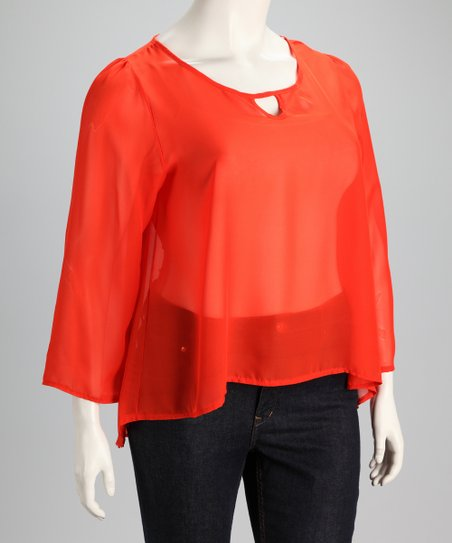 Dark Coral Sheer Plus-Size Top