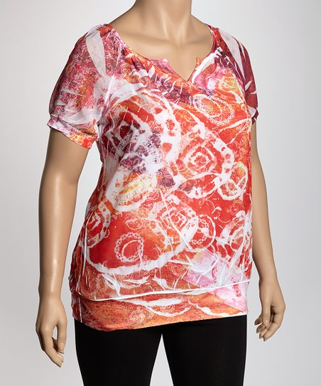 Orange Sublimation Plus-Size Top