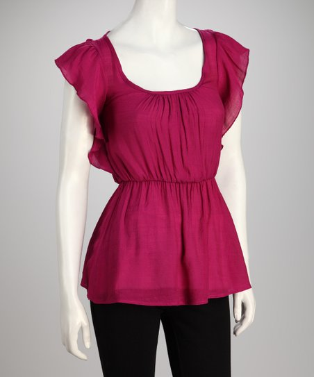 Magenta Tie-Back Cutout Tunic