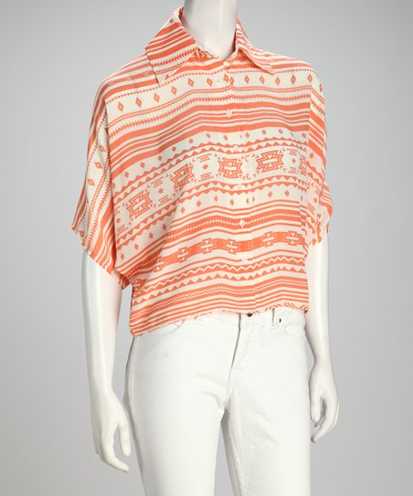 Coral &amp; White Geometric Cape-Sleeve Top