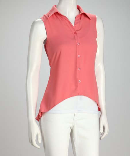 Coral Sleeveless Hi-Low Button-Up