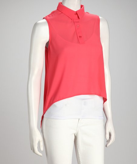 Coral Sheer Panel Sleeveless Hi-Low Top