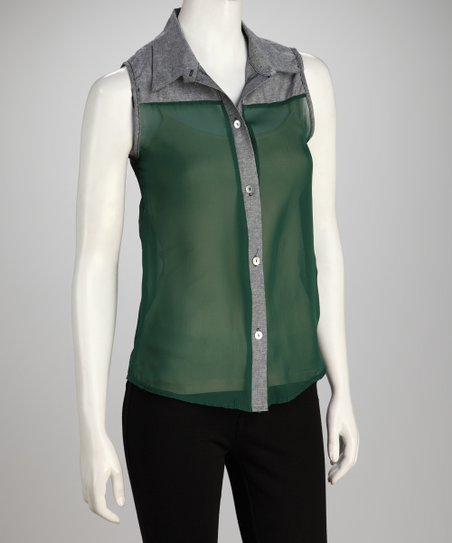 Dark Green Semi-Sheer Button-Up Tank