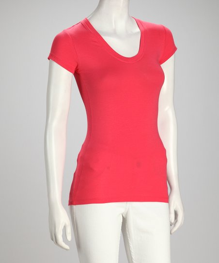 Coral Scoop Neck Top