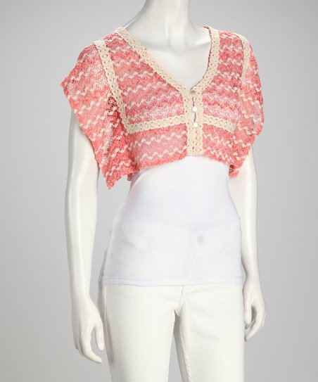 Coral &amp; White Open-Weave Crop Top