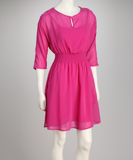 Magenta Semi-Sheer Cinch-Waist Dress