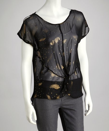 Black Sheer Chiffon Metallic Feather Top