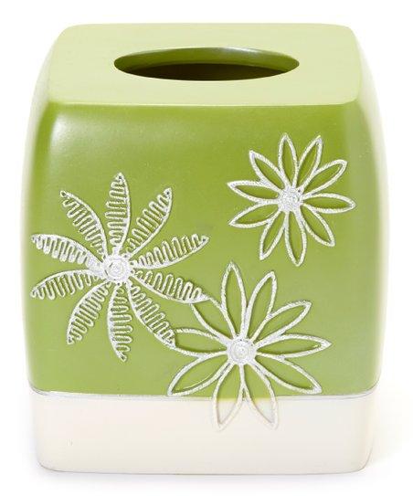 Lime Daisy Stitch Tissue Box