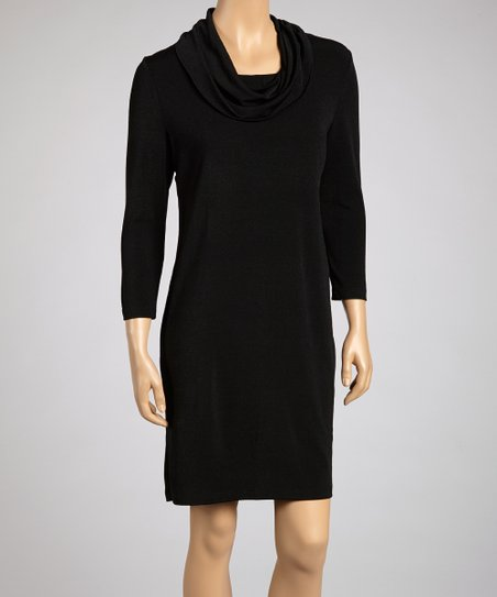 Black Drape Neck Sweater Dress