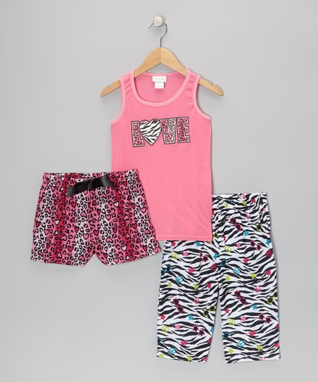 Pink & Black Love Leopard Pajama Set - Toddler & Girls
