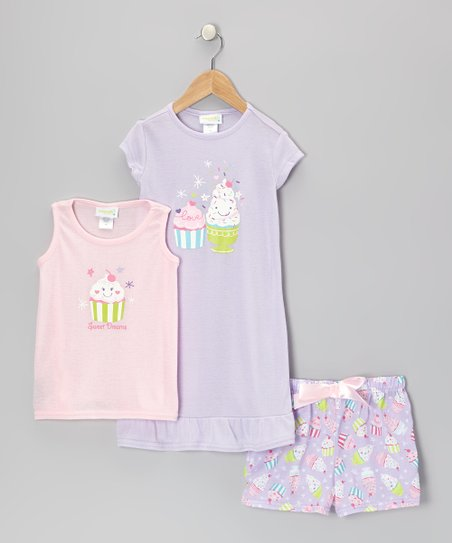 Pastel Pink & Purple Sweet Snacks Pajama Set - Toddler & Girls