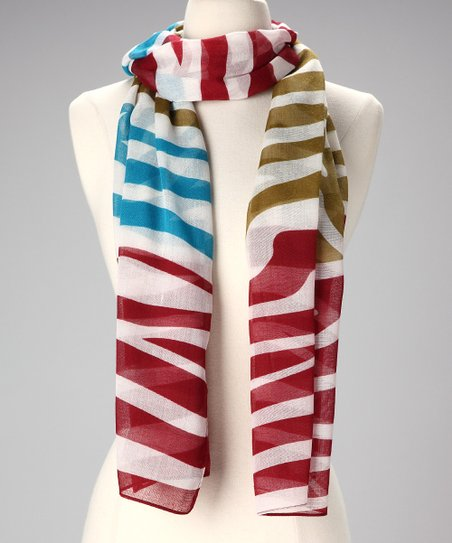 Red & Blue Zebra Scarf