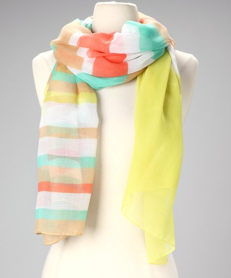 Pale Color Block Stripe Scarf