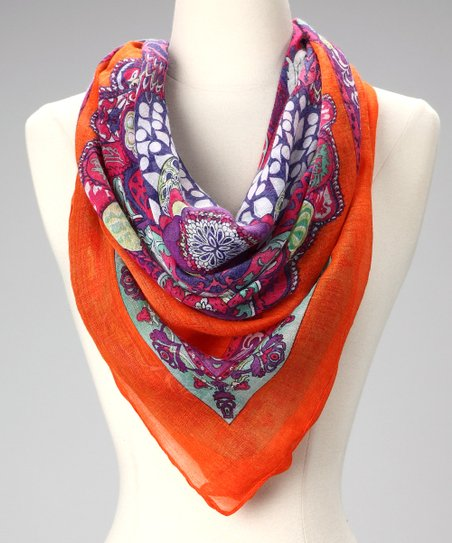 Orange Batik Square Scarf