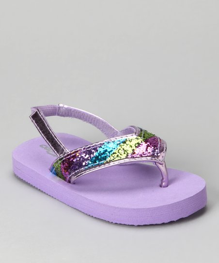 Purple Combo Stripe Glitter Backstrap Flip-Flop - Kids