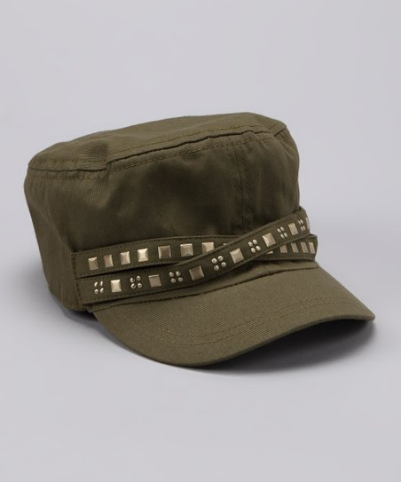 Olive Stud Newsboy Hat