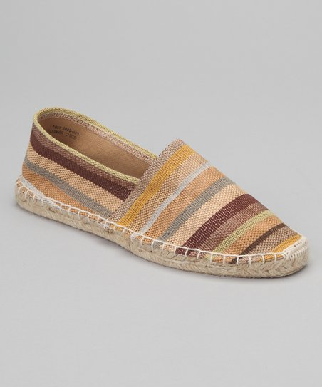 Natural & Brown Stripe Espadrille Flat