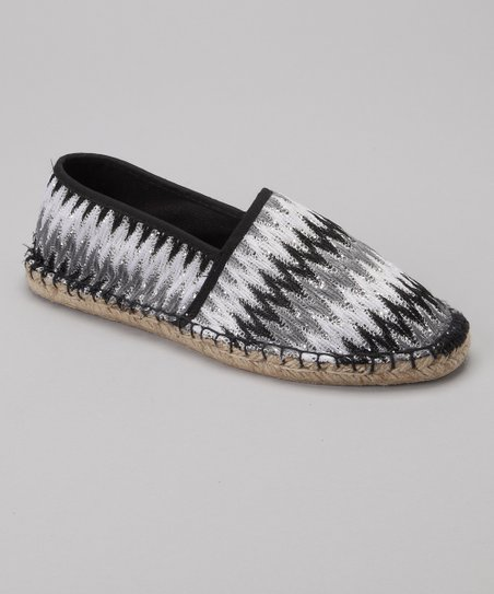 Black & White Sequin Zigzag Espadrille