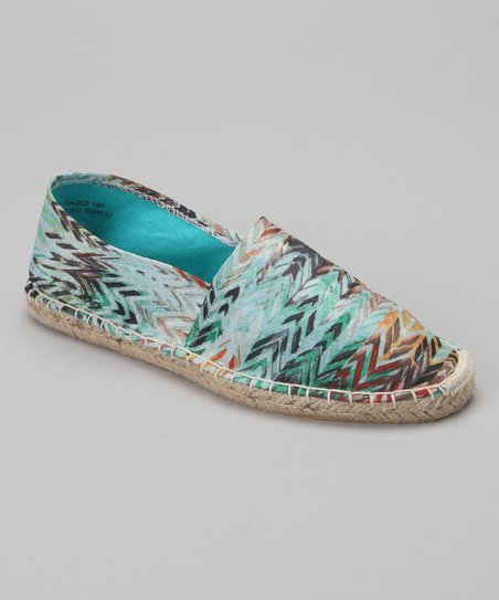 Teal & Brown Chevron Espadrille Flat - Women