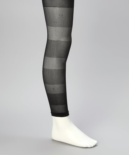 Black Stripe Footless Tights - Girls