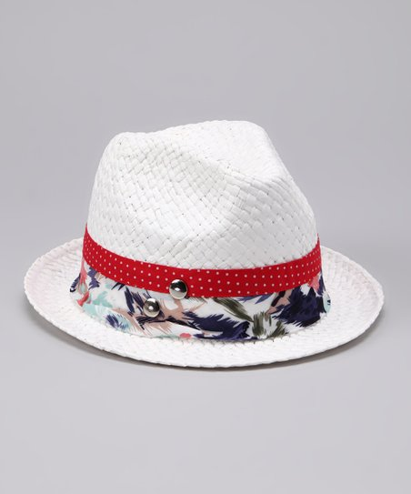 White Double-Band Woven Fedora