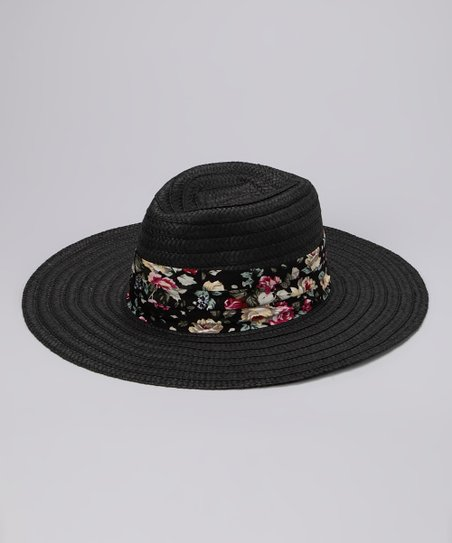 Black Floral Band Sunhat