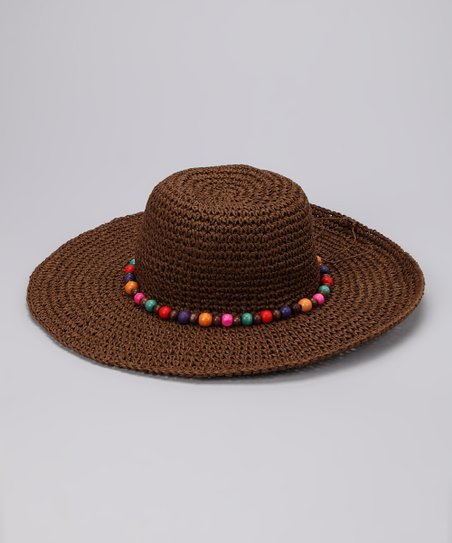 Brown Bead Band Crochet Sunhat
