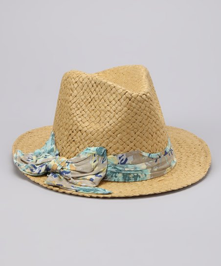 Natural Floral Bow Fedora