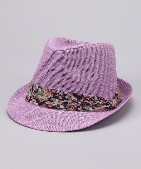 Purple Floral Band Fedora