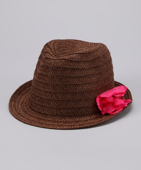 Brown Flower Fedora