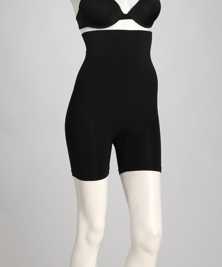 Jet Black Medium Support High-Waisted Shaper Shorts