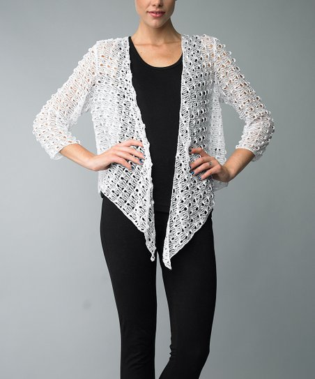 Off-White Crocheted Open Cardigan - Women
