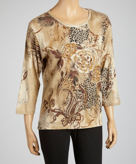 Taupe Rose & Leopard Three-Quarter Sleeve Top - Women