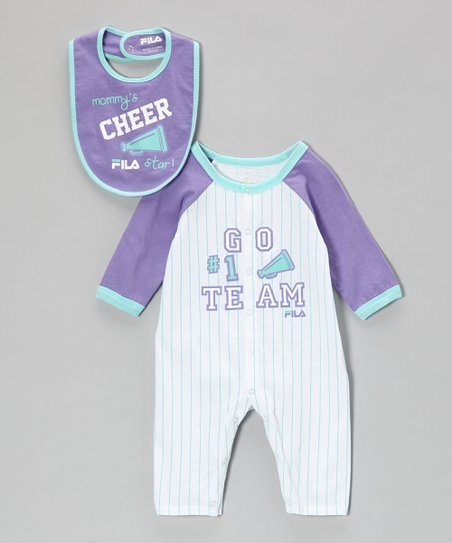 Bright White & Purple 'Team' Playsuit & Bib