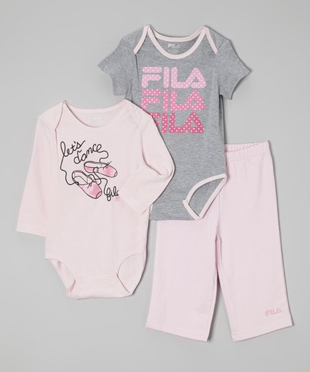 Gray & Pink 'Let's Dance' Bodysuit Set