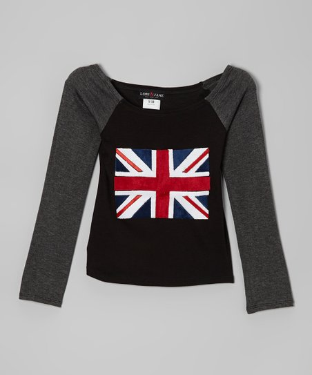 Black & Gray British Flag Raglan Top