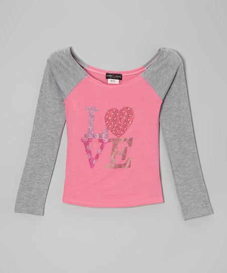 Gray & Pink 'Love' Raglan Top