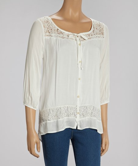Ivory Lace-Trim Button-Up