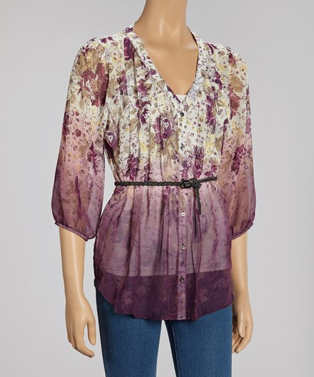 Purple Floral Pleated Sheer Belted Tunic