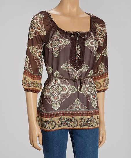 Brown Crochet Trim Sheer Tunic