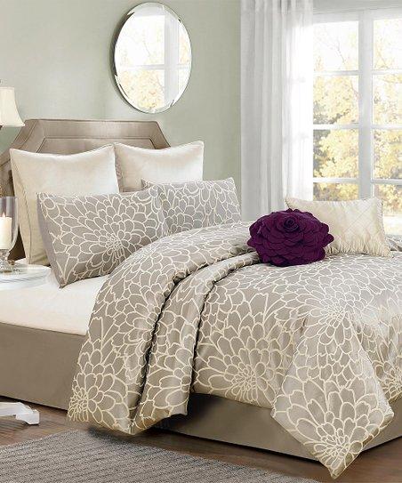 Silver & Beige Emma Flower Comforter Set