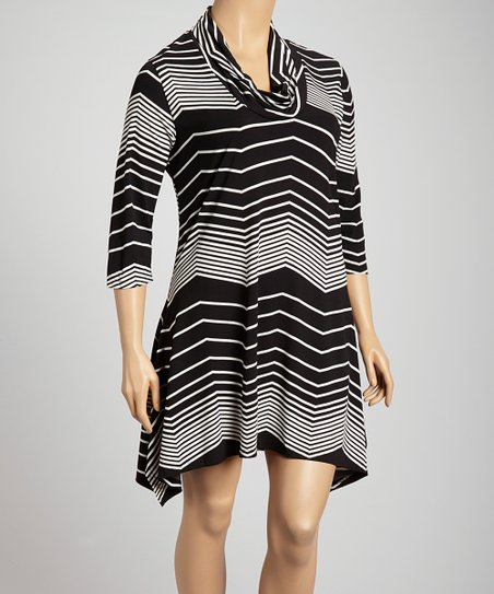 Black Wave Cowl Neck Dress - Plus