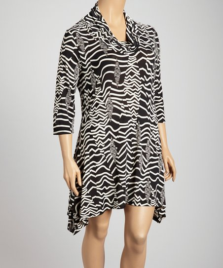 Black & White Ripple Cowl Neck Sidetail Dress - Plus