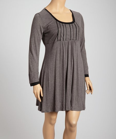 Gray & Black Contrast Trim Scoop Neck Dress - Plus