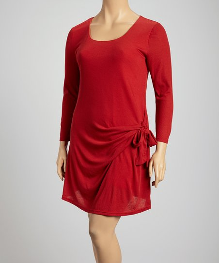 Red Tie Side Scoop Neck Dress - Plus