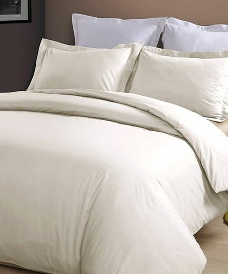 Ivory 230-Thread Count Duvet Cover Set
