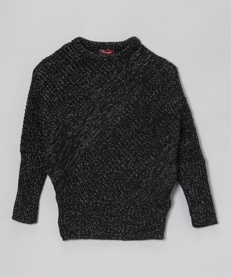 Black Thorn & Silver Lurex Dolman Sweater - Girls