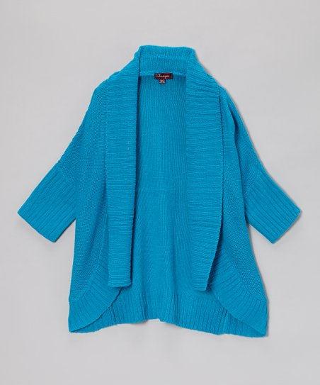 Modern Azure Open Cardigan - Toddler & Girls
