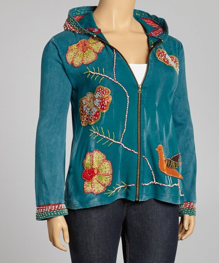 Blue Embroidered Bird & Flower Branch Zip-Up Hoodie - Plus